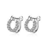 Cubic Zirconia Silver 925 Earrings with Ear Hole-free- 2 Design!