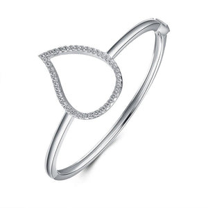 Silver Pear Shape Halo Bangle  With  Crystal