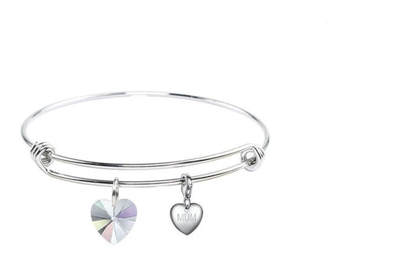 Pink Box Stainless Steel  Bangle made with Heart  Crystals &  Mum Charm