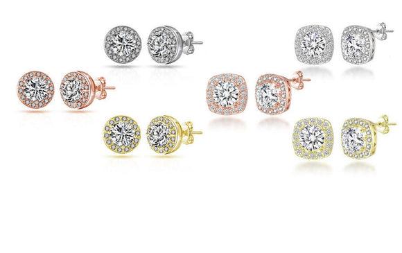 Round & Square Sparkle Halo Stud Earrings - 3 Colours!