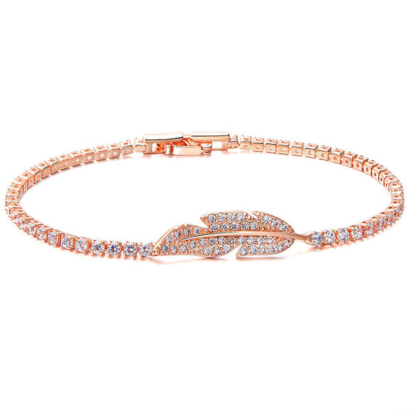 ROSE GOLD CRYSTAL LEAF TENNIS BRACELET
