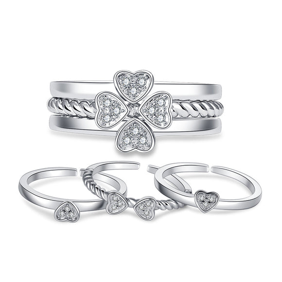 3-in-1 Silver 925 Four Leaf Clover Ring Cubic Zirconia -Adjustable!