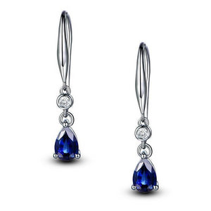 Sapphire & Lab Diamond  Drop Earrings