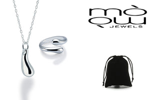 Teardrop Necklace and Open Ring Set 925 Silver