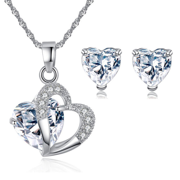 Double Heart Crystal Jewellery Set