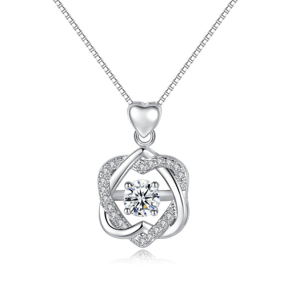925 Sterling Silver Cubic Zirconia Entwined Heart Necklace