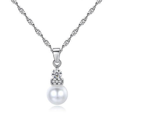 Pearl & Crystal Pendant Necklace
