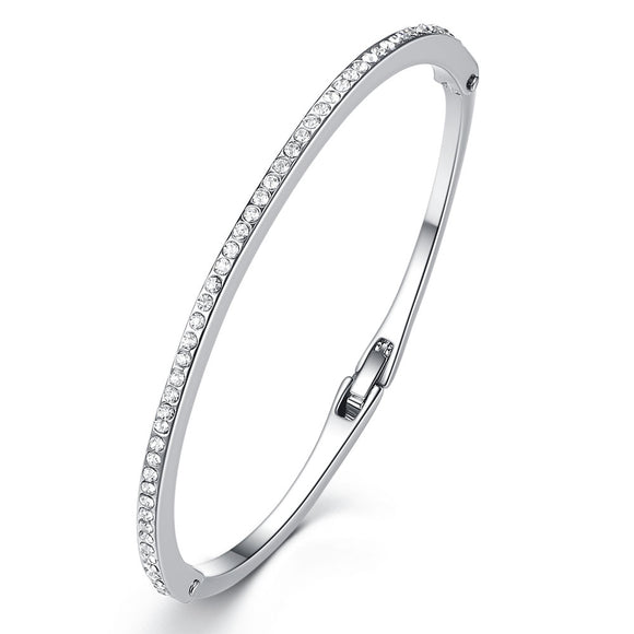 Silver Pave Crystal Bangle With Swarovski Crystals