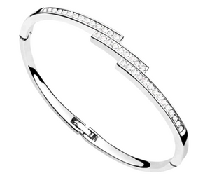 Silver Plated Bangle With Crystals Made With SWAROVSKI ELEMENTS