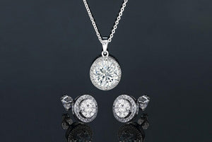 Round Halo Pendant and Earrings Set Made with Cubic Zirconia
