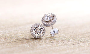 3.44CT Halo Stud Earrings with Crystal  Elements