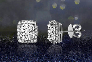 Silver Cubic Zirconia Square Halo Stud Earrings