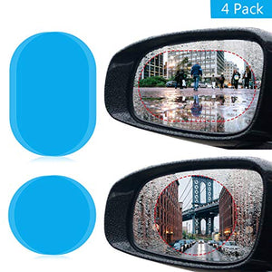 4pcs Universal Rearview Mirror Film Rainproof Anti-Fog Anti-Glare