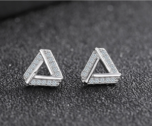 Sterling Silver Accent Triangle Stud Earrings