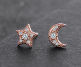 STERLING SILVER CUBIC ZIRCONIA STAR AND MOON STUD EARRINGS