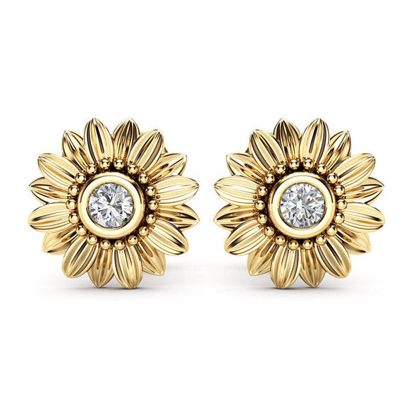 Sparkling Daisy Flower  Stud Earrings – 3 Colours!