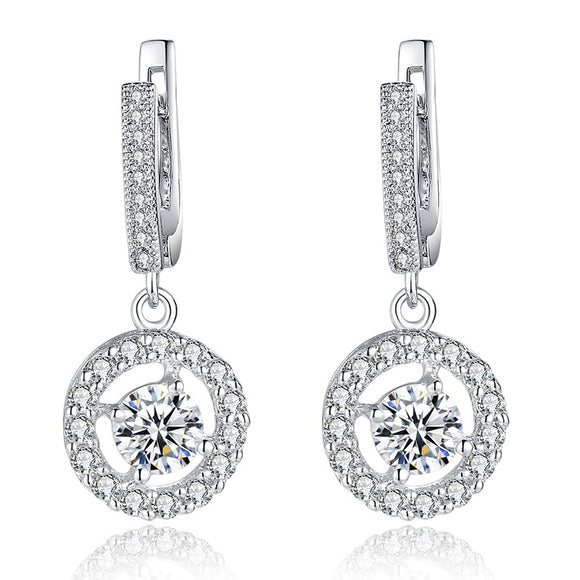 Halo Crystal Drop Earrings
