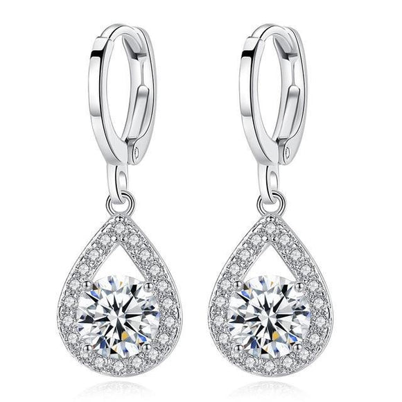 Halo Crystal  Earrings Pear Shaped