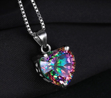 Heart Natural Mystic Topaz Necklace 925 Sterling Silver