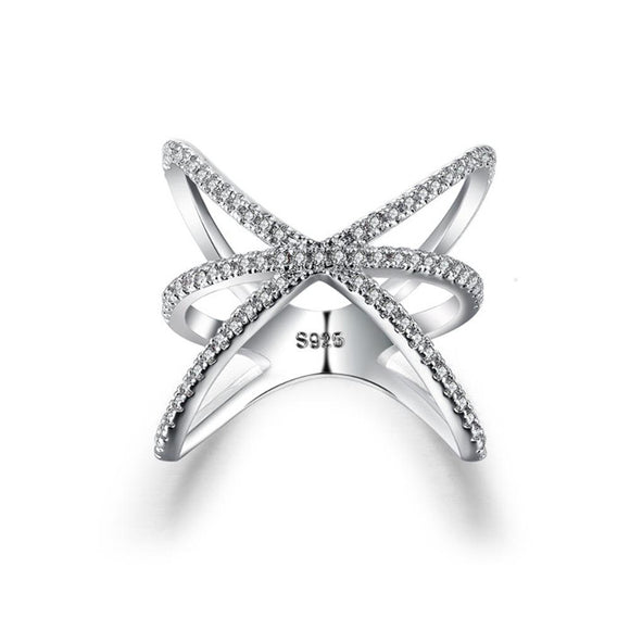 Cross Ring Cubic Zirconia Silver