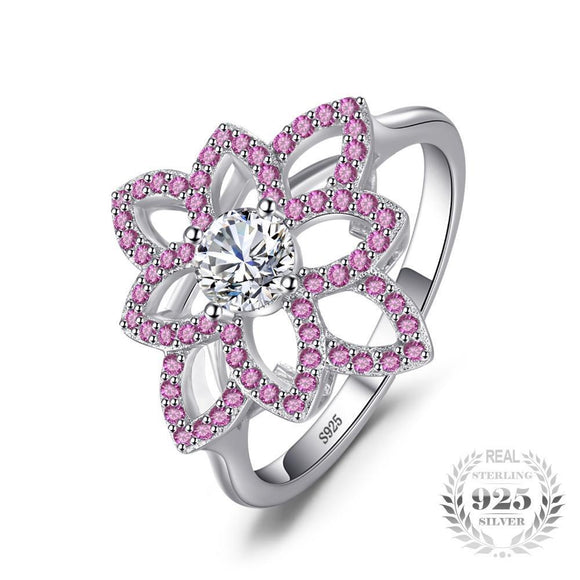 Created Pink Sapphire Flower Ring 925 Sterling Silver