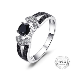 Elegant Created Black Diamond Ring 925 Sterling Silver