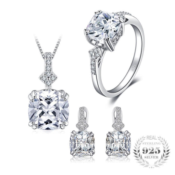 Cushion Cut Cubic Zirconia Jewelry Set 925 Sterling Silver