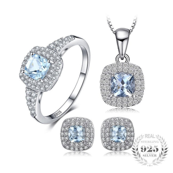 Cushion 2.6ct Natural Aquamarine Jewelry Sets 925 Sterling Silver