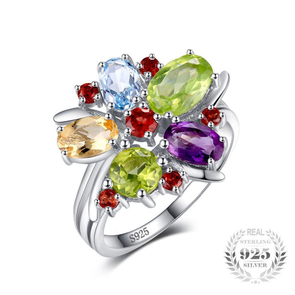 Flower Multicolor Natural Stone Ring 925 Sterling Silver