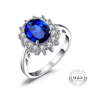 Princess Ring Created Blue Sapphire 925 Sterling Silver