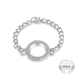Cubic Zirconia Chain Ring 925 Sterling Silver