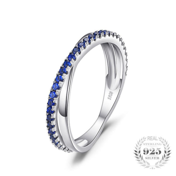 Round Created Blue Spinel Ring 925 Sterling Silver