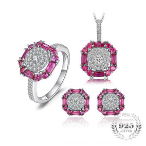 Created Ruby 3ct  Jewelry Set 925 Sterling Silver