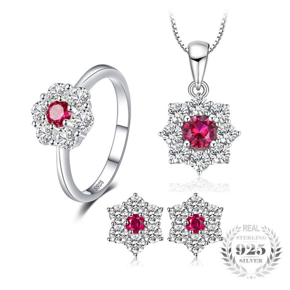 Flower Created Ruby Jewelry Set 925 Sterling Silver