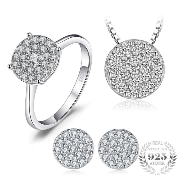 Round Cubic Zirconia Jewelry Set 925 Sterling Silver