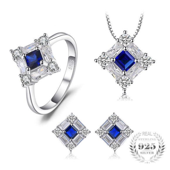 Octagonal Created Blue Sapphire Jewelry Set 925 Sterling Silver