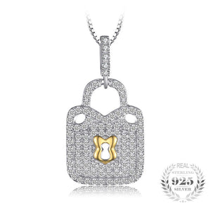Padlock Cubic Zirconia Necklace 925 Sterling Silver