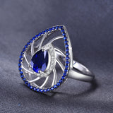 Pear Shape Created Sapphire Rings 925 Sterling Silver