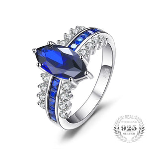 Luxury Marquise Created Sapphire Ring 925 Sterling Silver