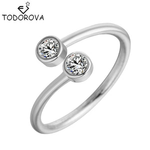 Todorova 925 Sterling Silver Crystal Rings for Women Fine Jewelry Adjustable Double Round CZ Ring Open Midi Toe Engagement Rings