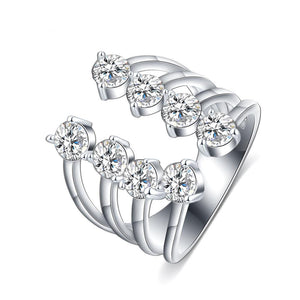 Open Thin Ring Four banded Cubic Zirconia