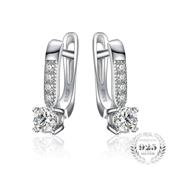 Clip Earrings 925 Sterling Silver Cubic Zirconia
