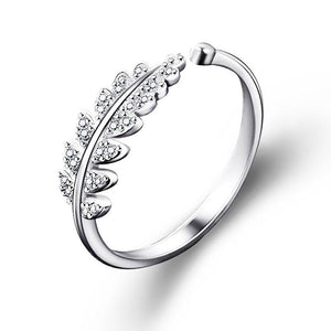 925 Sterling Silver Leaf Open Ring - Adjustable 2 Colours!