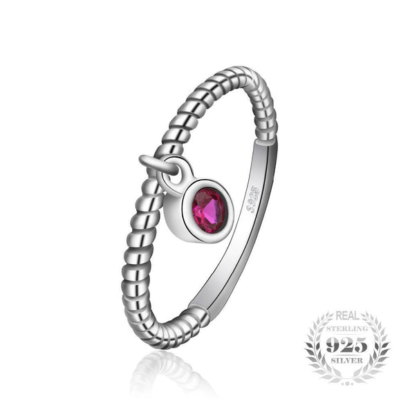 Created Ruby Ring 925 Sterling Silver
