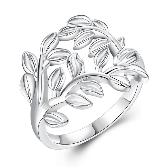 925 Sterling Silver Tree Leaves  Ring