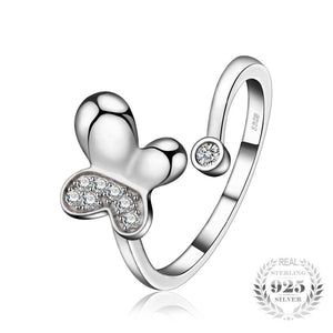 Butterfly Cubic Zirconia Open Ring 925 Sterling Silver