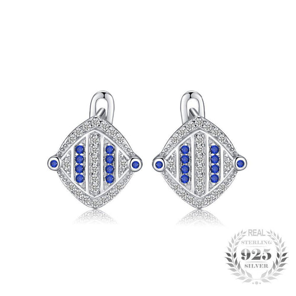 Unique Created Sapphire Clip Earrings 925 Sterling Silver
