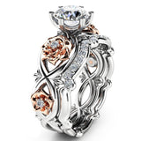 Luxury Crystal Rings Fashion Carved Rose
