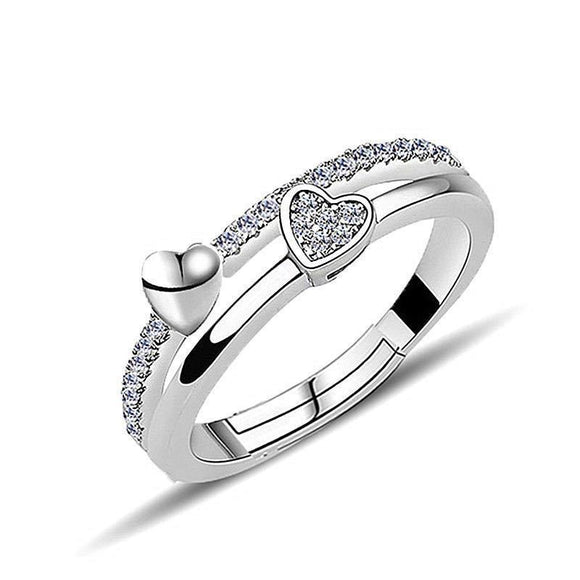 Open Double Heart Crystal Ring Cubic Zirconia