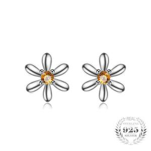 Flowers Create Sapphire Stud Earrings 925 Sterling Silver